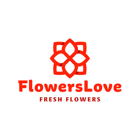 trend: Flower love quality flat trend brand icon vector illustrations