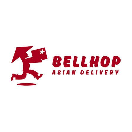 runs: Bellhop Asian deliveryman runs speed delivery cargo box hat  flat logo icons Illustration