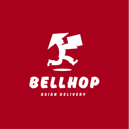Bellhop Asian deliveryman runs speed delivery cargo box hat  flat logo icons Illustration