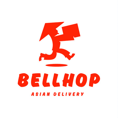runs: Asian deliveryman runs speed delivery cargo box hat beard Chinese brings parcel logos Illustration