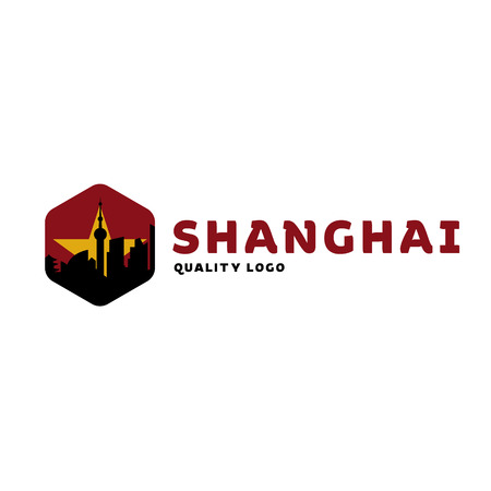 shanghai china: Shanghai city the shadow China building sunset red vector logo illustrations, strong trend flats