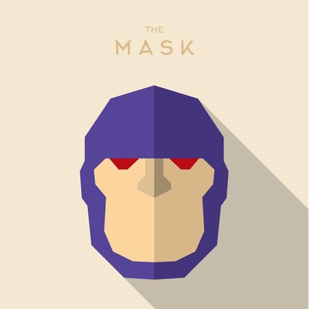 villain: Mask flat Hero Villain superhero style icon vector   illustrations Illustration