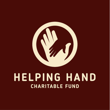 Helping Hand adult and children   icon charity and help pin shape