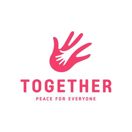 Helpende Hand voor volwassenen en kinderen icoon liefdadigheid en hulp pin vorm Stock Illustratie