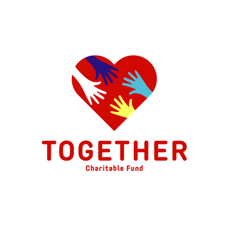 Helping Hand adult and children   icon charity help flats 일러스트