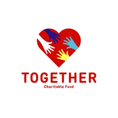 symbol hand: Helfende Hand f�r Erwachsene und Kinder Icon Charity Hilfe Wohnungen Illustration