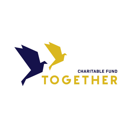 animals together: Two doves in the style of flat flying together for a charity fund