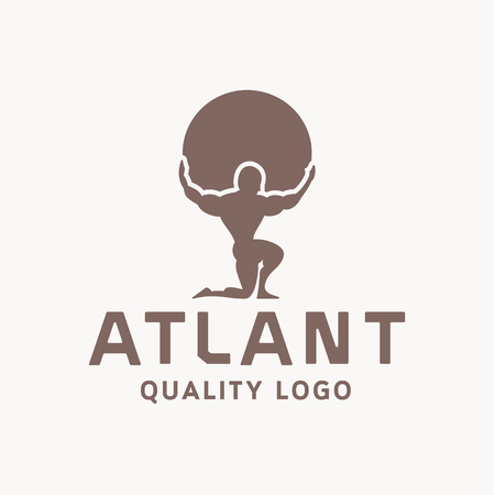 mythology: Atlant Atlas holds earth quality stylized   for your company vector trendy style flats