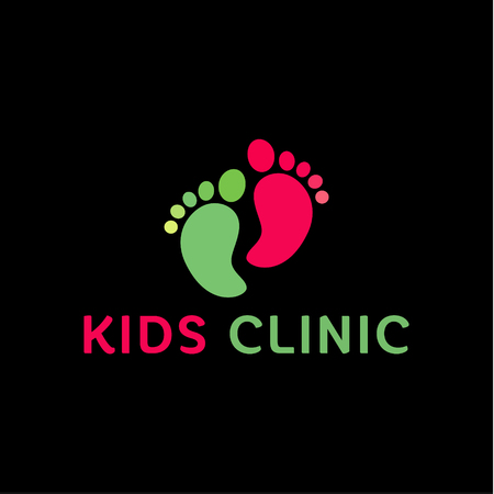 childs:   Childrens health clinic, the childs feet flat trend style vectors