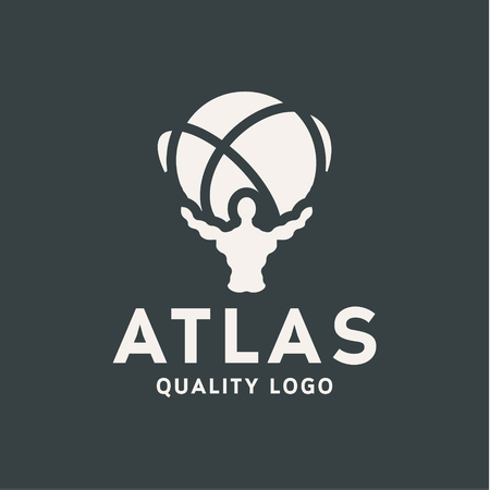 titan: Atlant Atlas holds earth quality stylized   for your company vector trendy style flats