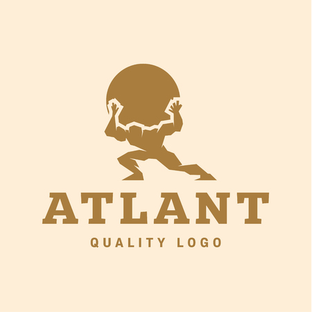 hold hands: Atlant Atlas holds earth quality stylized   for your company vector trendy style flats