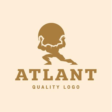 levantar peso: Atlant Atlas mantiene la calidad de tierra estilizado para su empresa vector pisos de estilo de moda Vectores