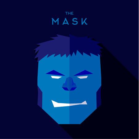 the villain: Hero Mask superhero head, face flat style graphics icon vector  , illustration, villain
