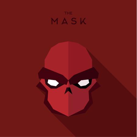 villain: Anti-hero villain mask red, abstract vector illustration of flat
