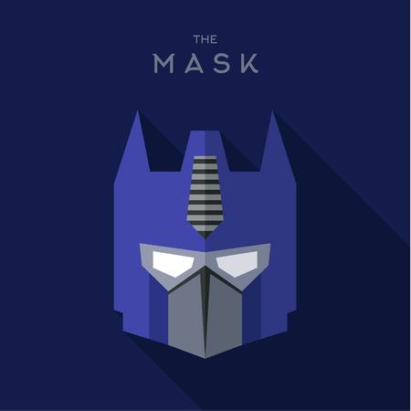 art: Mask blue robot villain antihero, a vector art design quality flats