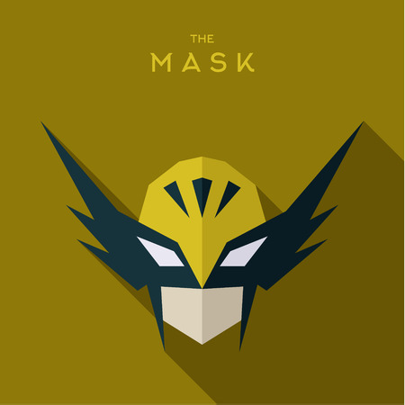 defender: Hero in the yellow mask defender flat illustration art