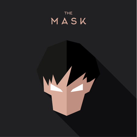 hair mask: Abstract mask character with hair dark background in the flats Illustration