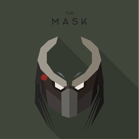 body mask: Mask evil alien robot stranger villain with horns, anti hero the vector graphics a unique stylistic flats