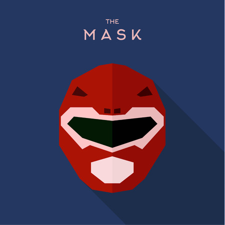 alien robot: Mask helmet spacesuit robot alien red anti-hero, unique illustration of the flats