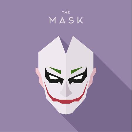 mascarilla: La m�scara en la cabeza de las ilustraciones de vectores plana estilo villano anti-h�roe Vectores