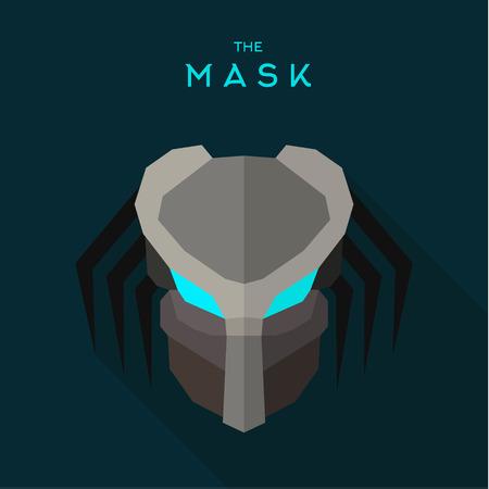 alien robot: Robot mask with blue eyes anti-hero, an evil alien, flat style vectors