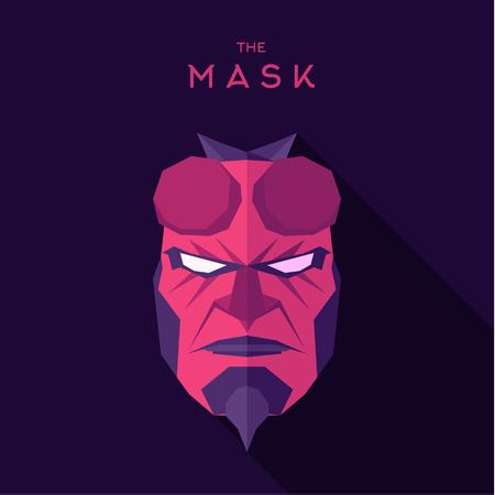 villain: Alien Mask pink anti hero villain in quality vector-style flats