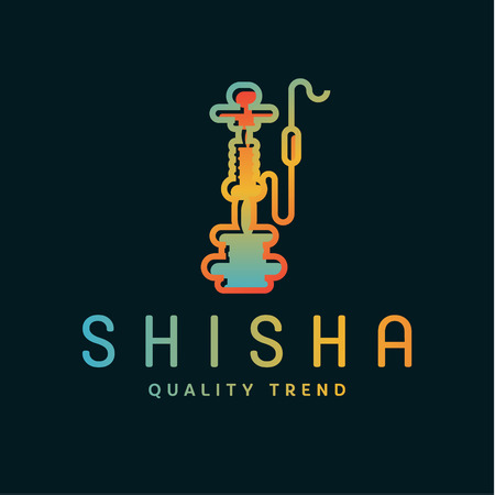 a smoke: Shisha hookah for tobacco smoking and smoking mixtures for your company brand, quality gradientyny contour   flat