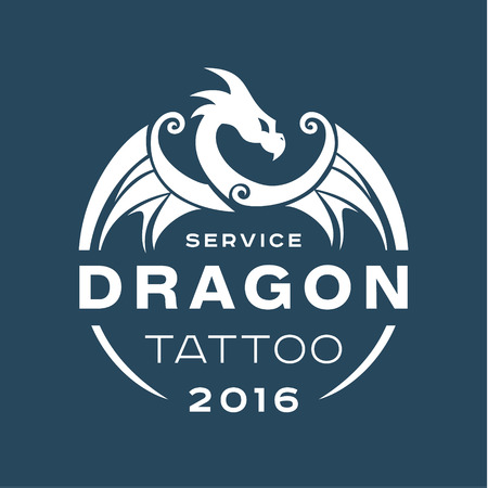 black and white dragon: Dragon  tattoo service in style the flat of one color art Illustration