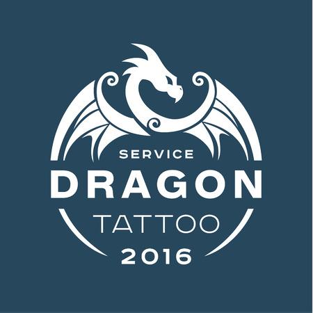 Servizio di tatuaggio del drago in stile l'appartamento di uno arte colore Archivio Fotografico - 49038523