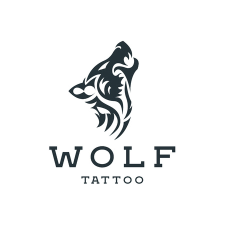 Wolf howling  the moon in style of tattoos  flat one color   mark, quality pro illustrations art Vectores
