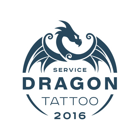 dragon tattoo: Dragon   tattoo service in style the flat of one color art