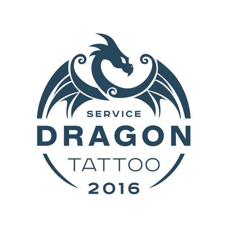Dragon tattoo dienst in de stijl van de flat van één kleur kunst Stockfoto - 49038611
