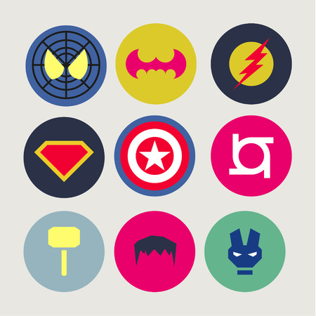 robot with shield: Icons, abstract, tweaked for superheroes and supervillains, flat style vectors