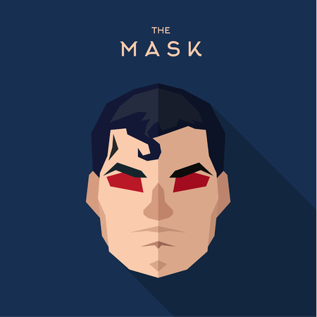 worthy: Mask hero into flat style vector graphics Stock Photo