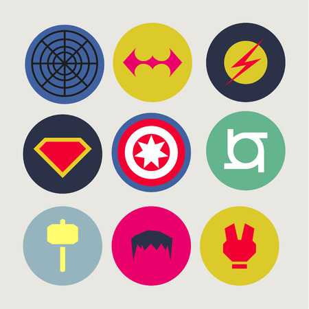 Icons, abstract, tweaked for superheroes and supervillains, flat style vector
