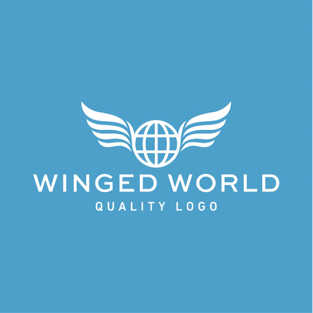 Winged   planet earth abstract vector high-quality flat trend
