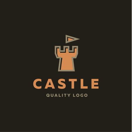 fortress: Abstract castle fortress trending flat quality   vector sign Illustration