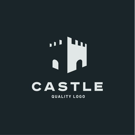 Abstract castle fortress trending flat quality vector sign