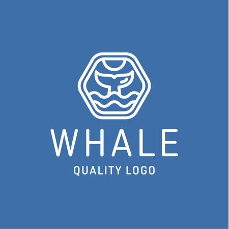 fin: Fin whale abstract sign icon vector   into flat style