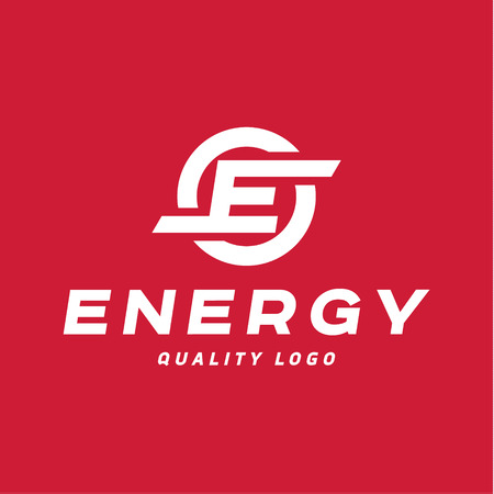 Techno energy sign with the letter E vector   style flat