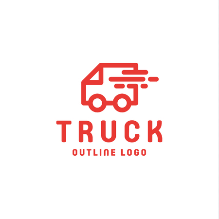 Truck trending an outline line quality vector logo style flat