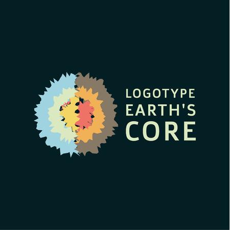 地球は地殻良い品質のコア セクション抽象的な測地線フラット アイコン サインです。