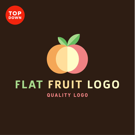context: Fruit with leaves in the context of an abstract apple icons sign for flat style