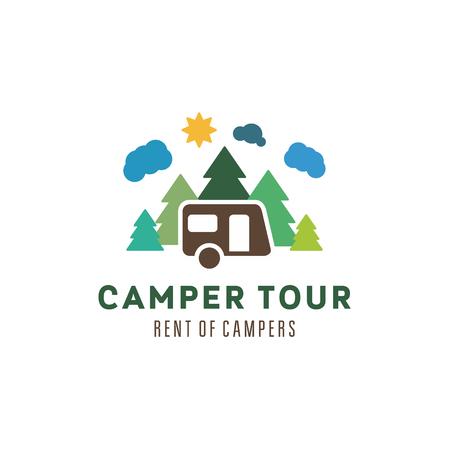 ricreazione: Camping al sole boschi nuvole all'aperto illustrazioni ricreazione camper vettoriali arte piatta