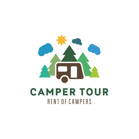 Camping in the woods clouds sun outdoor recreation camper vector illustrations flat art