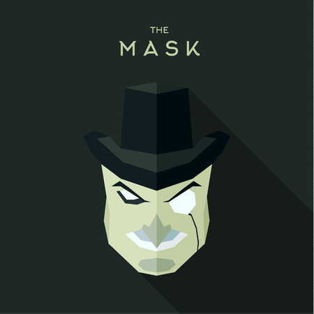 villain: Mask villain into flat style vector graphics Illustration
