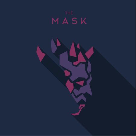 villain: Mask villain into flat style vector graphics art. Illustration