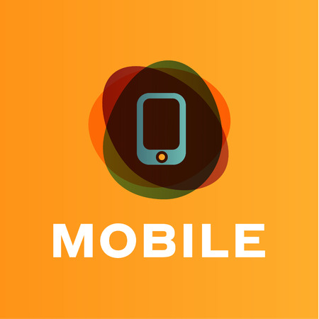 connect people: mobile phone illustration of the trend in gradients icon art