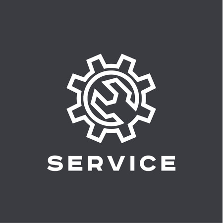 service: Service auto repair, wrench, logo sign flat Illustration
