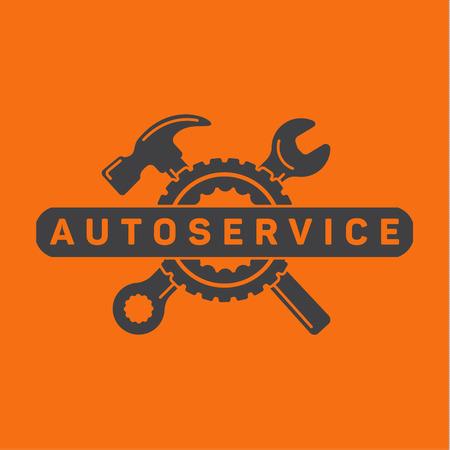 Dienst auto reparatie, moersleutel hamer, wiel logo ondertekenen flat Stock Illustratie